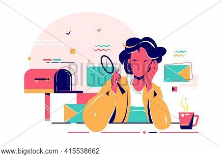 Young Woman Checks Mail With Magnifier With Cup Of Tea. Isolated Concept Bored Attractive Businesswo