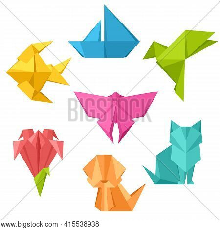 Set Of Origami Toys. Folded Paper Objects.