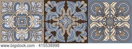 Portuguese Azulejo Ceramic Tile Pattern. Mediterranean Traditional Ornament.