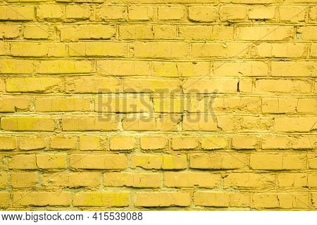 Light Yellow Old Brick Wall For Background.