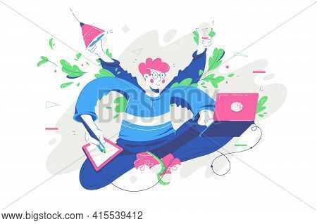 Young Smiling Man Multitasking Using Modern Device And Idea. Happy Relaxing Businessman Character En
