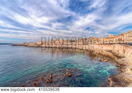 Syracuse Sicily/ Italy -april 11 2020: The Breathtaking Scenery Of The Ortigia Seafront In Syracuse