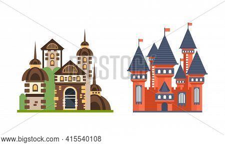 Fairytale Castle Towers Set, Medieval Mansion Facades Cartoon Vector Illustration