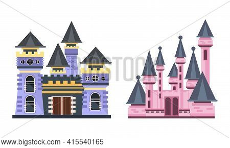 Fairytale Princess Castle Towers Set, Colorful Medieval Mansion Facades Cartoon Vector Illustration