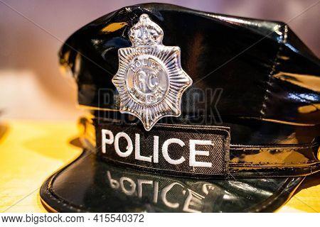 Black Police Patrol Cap Close Up With Logo