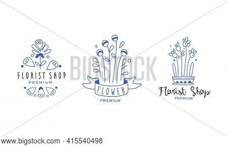 Florist Shop Premium Logo Original Design Set, Organic Shop, Floral Designer Blue Hand Drawn Badges