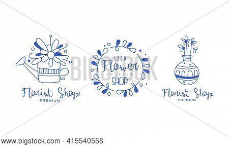 Flower Shop Logo Design Set, Florist Boutique, Floral Designer Studio Blue Hand Drawn Badges Vector