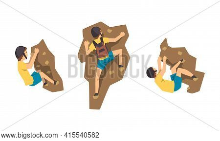 Male Mountaineer Climbing Mountain Set, Climber With Backpack Reaching Peak Vector Illustration