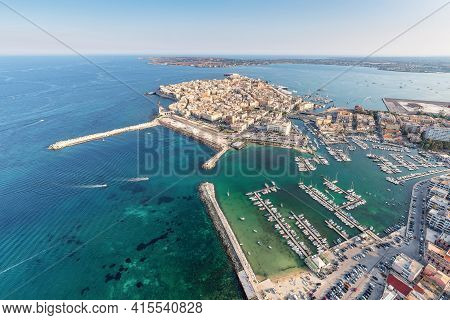Aerial View Of The Ortgia Island In Syracuse Sicily