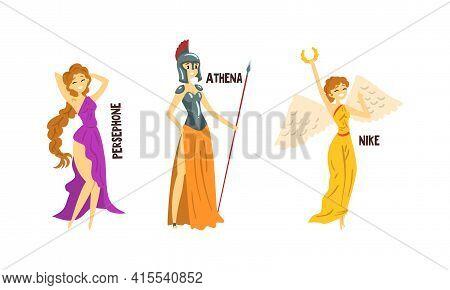 Persephone, Athena, Nike Olympian Greek Gods Set, Ancient Greece Mythology Vector Illustration