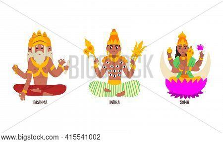Statues Of Indian Gods Set, Brahma, Indra, Soma Hinduism Godheads Vector Illustration