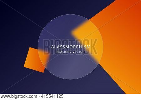 Glassmorphism Effect With Transparent Glass Plate On Abstract Colored Background With Moving Geometr