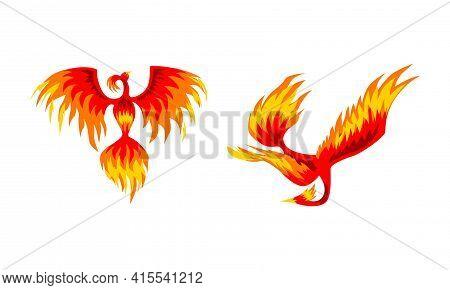 Set Of Phoenix Firebirds, Mythical Fairy Tale Bird, Creature Of Slavic Folklore Vector Illustration