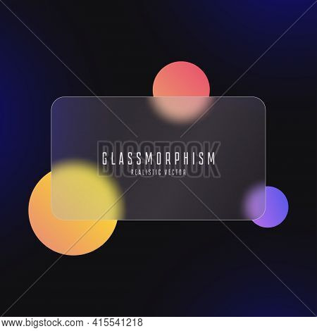 Glassmorphism Effect With Transparent Glass Plate On Abstract Background With Moving Colored Circles