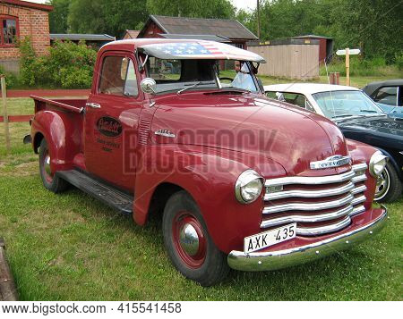 Hagfors, Sweden, July 9, 2008 A Chevrolet 3100 Pickup Truck At A Classic Car Owners Meeting