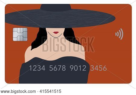 A Beautiful Girl's Face Is Part Of The Design Of A Generic Credit Card In This 3-d Illustration. The