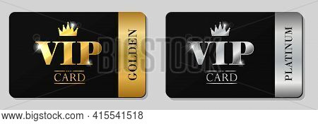 Vector Vip Golden And Platinum Card. Black Background With Crown. Luxury Design For Vip Member.