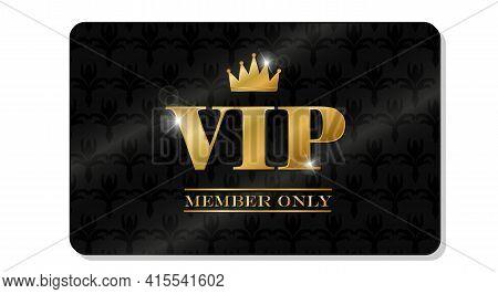 Vip Card On Black Background. Invitation Card, Banner. Party Invitation. Fashion Concept. Luxury Des