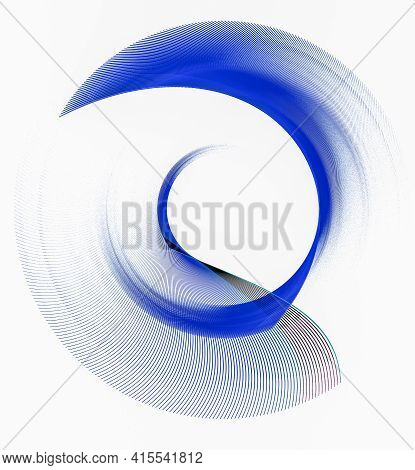 The Blue Blades Of The Abstract Propeller Are Arranged In A Spiral, Creating A Circular Frame On A W