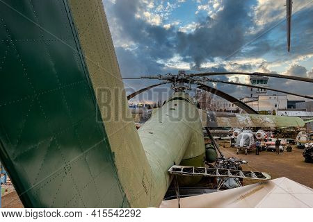 Riga, Latvia - March 10 6, 2021: Huge Of Mil Mi-6 Heavy Lift Helicopter, Nato Code Name 'hook', Disp