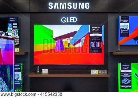 Samsung Tvs With Technology Qled In A Branded Store. Minsk, Belarus - March 2021