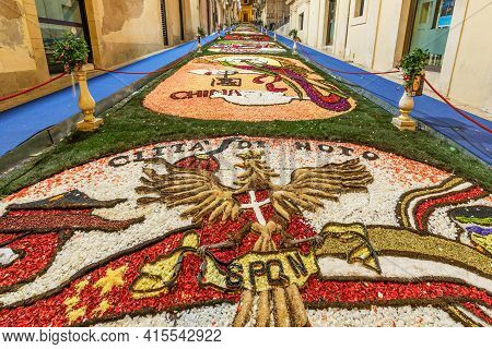 Noto, Sicily/italy - May 19 2018: The Flower Festival Of Noto In Sicily