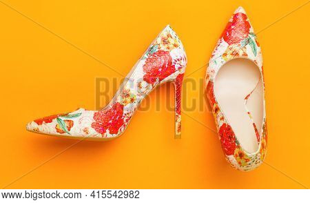 Stylish Classic Women Leather Shoe. Colored Women Shoes On Yellow, Orange Background. Colorful Leath