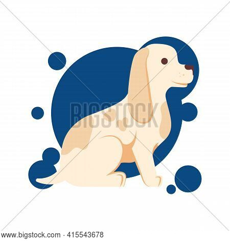 A Young And Very Cute Little Brown Dog Sitting. Cocker Spaniel Puppy Illustration Isolated On White.