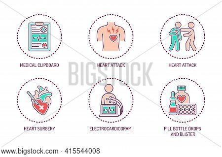 Cardiology Color Line Icons Set. Isolated Vector Element.