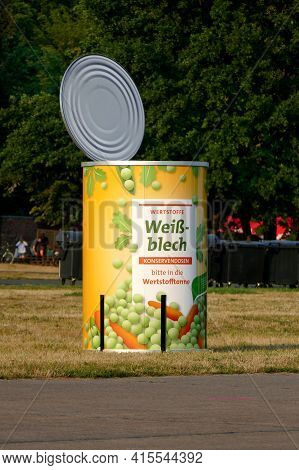 Berlin, Germany, August 7, 2020, Oversized Tin Can For Disposal Of Scrap Metal At The Former Tempelh