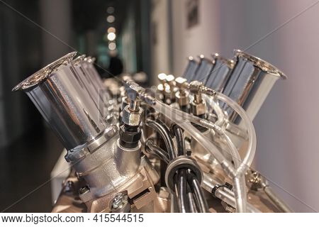 Germany, Munich - April 27, 2011: Bmw V8 Engine In The Bmw Museum Exhibition Hall