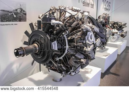 Germany, Munich - April 27, 2011: Bmw 801 Engine In The Exhibition Hall Of The Bmw Museum. Piston Ai