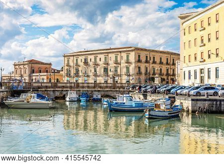Syracuse Sicily/ Italy - January 24 2017: Ortigia, The Fishermen's Pier