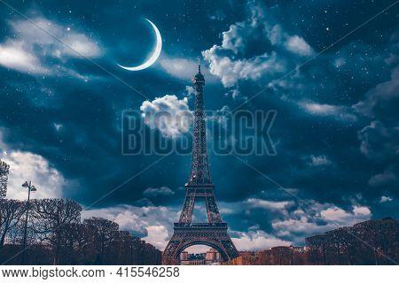 Romantic destination of Eiffel Tower at night, Paris, France