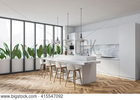 Bright Modern Kitchen Room Interior With White Bar Counter And Four Barstool, Cupboard, Panoramic Wi