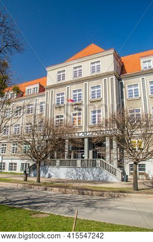 Gdansk, Poland - March 31, 2021: Technical School Of Communications.