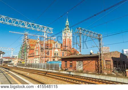 Gdansk, Poland - March 31, 2021: Gdansk Glowny Railway Station Building During Renovation.