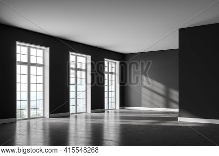 Dark Living Room With Grey Concrete Floor, Side View, Empty Open Space Room With Several Windows, Su