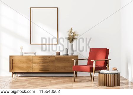 Bright Contemporary Waiting Room Interior With White Empty Poster, Wooden Sideboard, Comfortable Red
