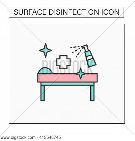 Disinfection In Cosmetology Clinics Color Icon. Sanitizing Instruments And Beds. Safety Space And Pr