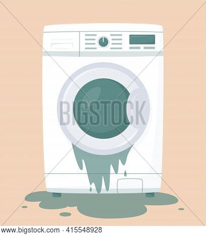 Broken Washing Machine With Water On Floor. Money Back Guarantee. Insurance Policy. Compensation For