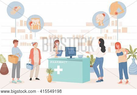 People In Pharmacy Buying Pills From Diseases Vector Flat Illustration. Men And Women With Headaches