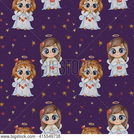 Kids Collection Of Seamless Patterns. Beautiful Girls Angels With A Heart And A Halo On A Purple Bac