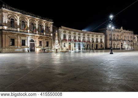 Syracuse Sicily/ Italy -december 23 2015: Cathedral Square In The Night