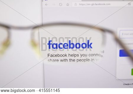Moscow, Russia - 14 November 2020: Facebook Home Page Browsing Through Glasses. Facebook Company Log