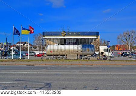 Kiev, Ukraine - Mar 24: Glusco Gasoline Fuel Station On March 24, 2021 In Kiev, Ukraine. It Is Natio