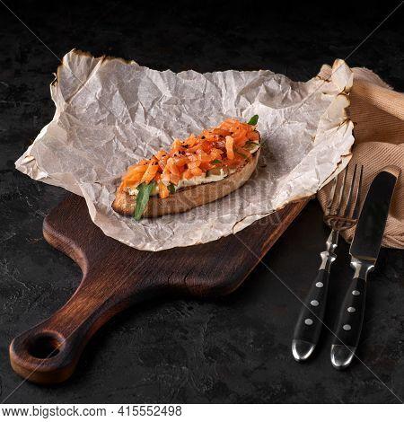 Bruschetta With Lightly Salted Salmon. Crostini. Bruschetta. Sandwich. Antipasti. Selective Focus Me