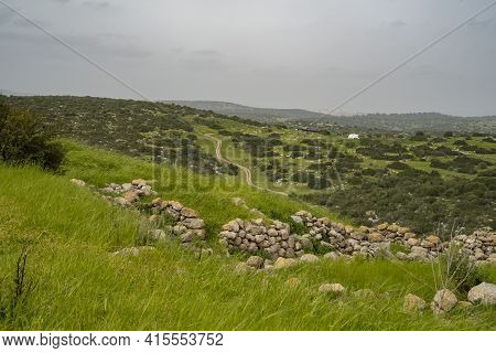 A View Of The Adullam Region Of Israel From The Archeological Site Of Khirbat Umm Burj, On A Hazy Da