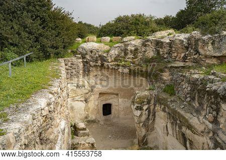 An Ancient Burial Cave In The Archeological Site Khirbat Umm Burj, Israel