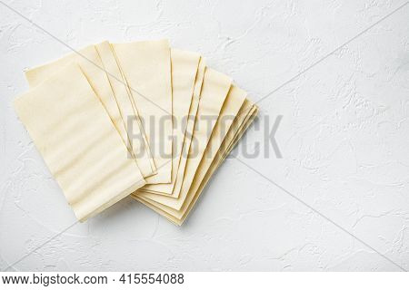 Lasagna Dough Sheets Set, On White Stone  Background, Top View, Flat Lay, With Copy Space For Text